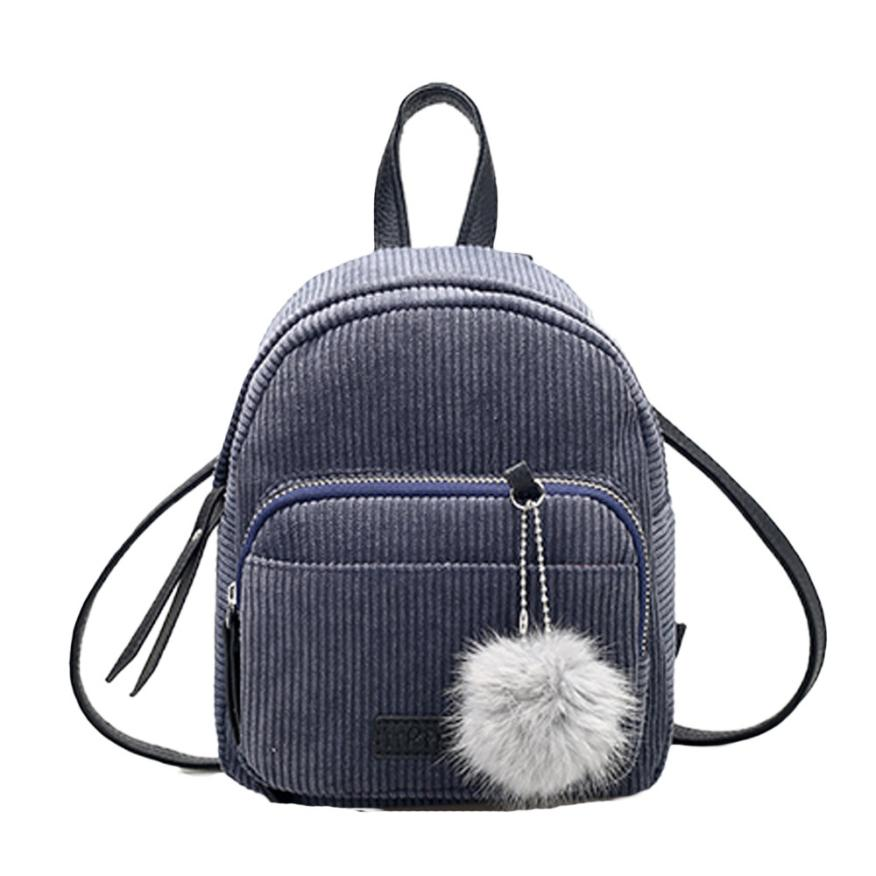Costbuys  Women Leather Backpack Solid Red Gray School Bag Escolar Travel Small Mini Corduroy Bag - Gray / United States