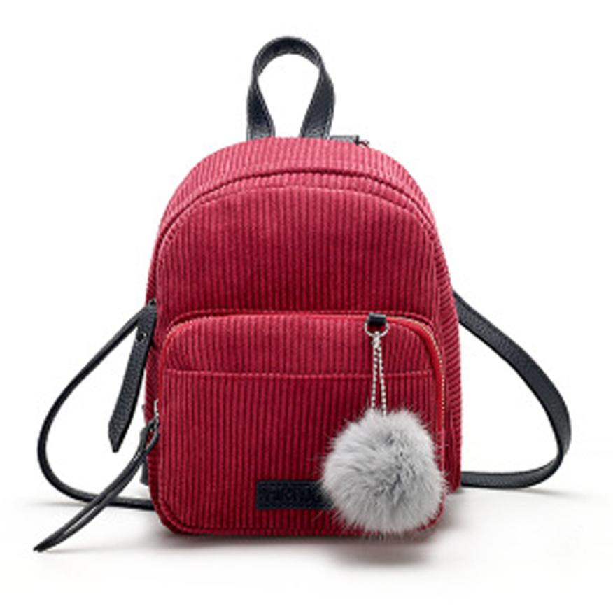 Costbuys  Women Leather Backpack Solid Red Gray School Bag Escolar Travel Small Mini Corduroy Bag - Red / United States