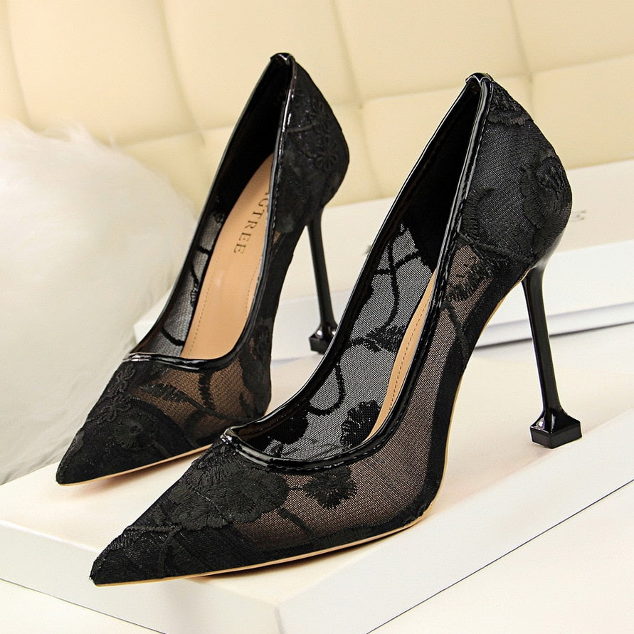 Costbuys  Women Pumps. Women Heels Summer Breathable Mesh High Heels Shoes Women Luxury Pumps Shoes Black Heels - Black / 34