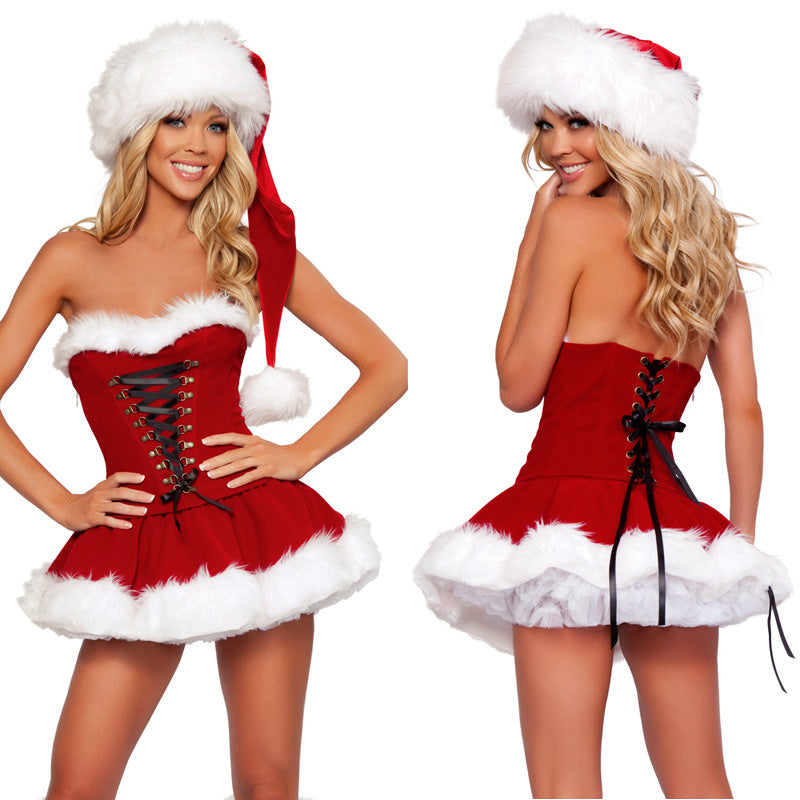 Costbuys  Women Sexy Christmas Festival Cosplay Bandage Costumes Female erotica lingerie Halloween Uniform Role Playing Santa Cl