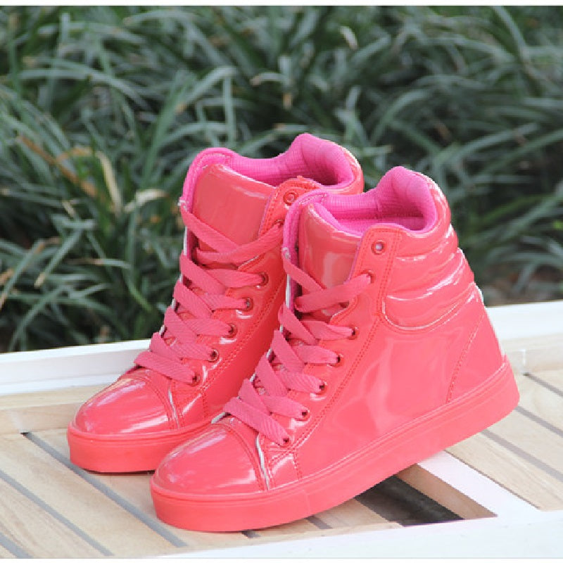 c53841da574e9d Akexiya New spring autumn ankle boots heels pink shoes women casual shoes  height increased high top ...