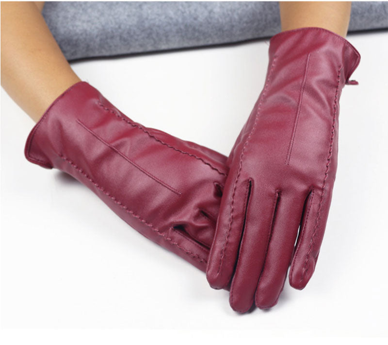 Costbuys  Women Touch Screen Gloves Pu Gloves Winter Gloves Soft Smartphone Wrist Gloves For Mobile Phone Tablet Pad - Wine Res