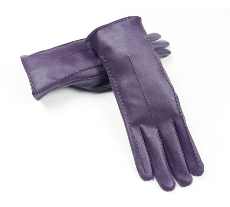 Costbuys  Women Touch Screen Gloves Pu Gloves Winter Gloves Soft Smartphone Wrist Gloves For Mobile Phone Tablet Pad - Purple /