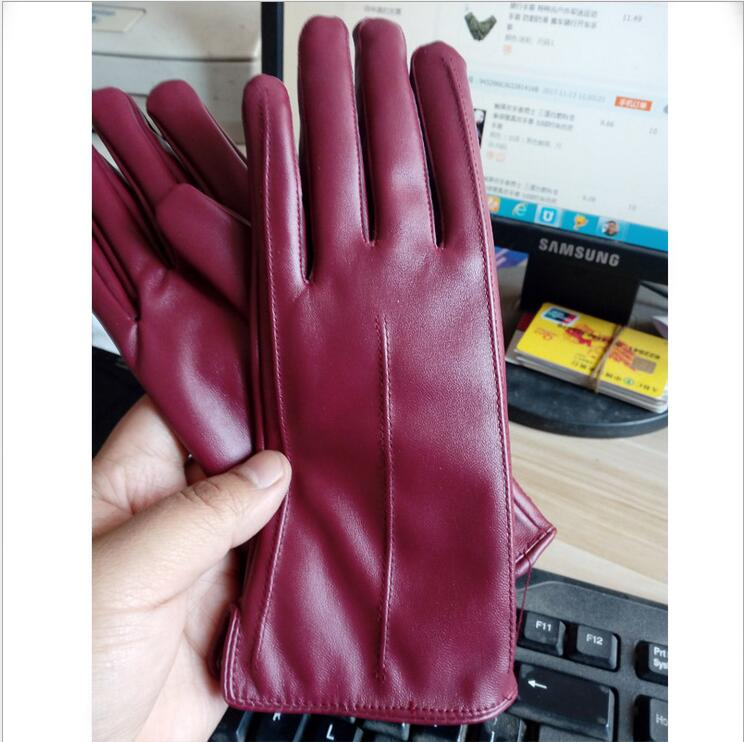 Costbuys  Women Touch Screen Gloves Pu Gloves Winter Gloves Soft Smartphone Wrist Gloves For Mobile Phone Tablet Pad - B Wine Re