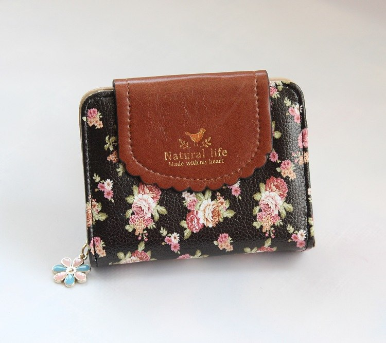 Costbuys  Women Wallets Fashion Floral Pattern Ladies Purse High Quality Pu Leather Short Wallet Small Portable Moneybag Coin Pu
