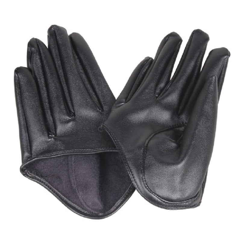 Costbuys  Women's Gloves Genuine Leather Female Gloves Fashion Half Palm Women's Gloves Lambskin Black Leather Glove