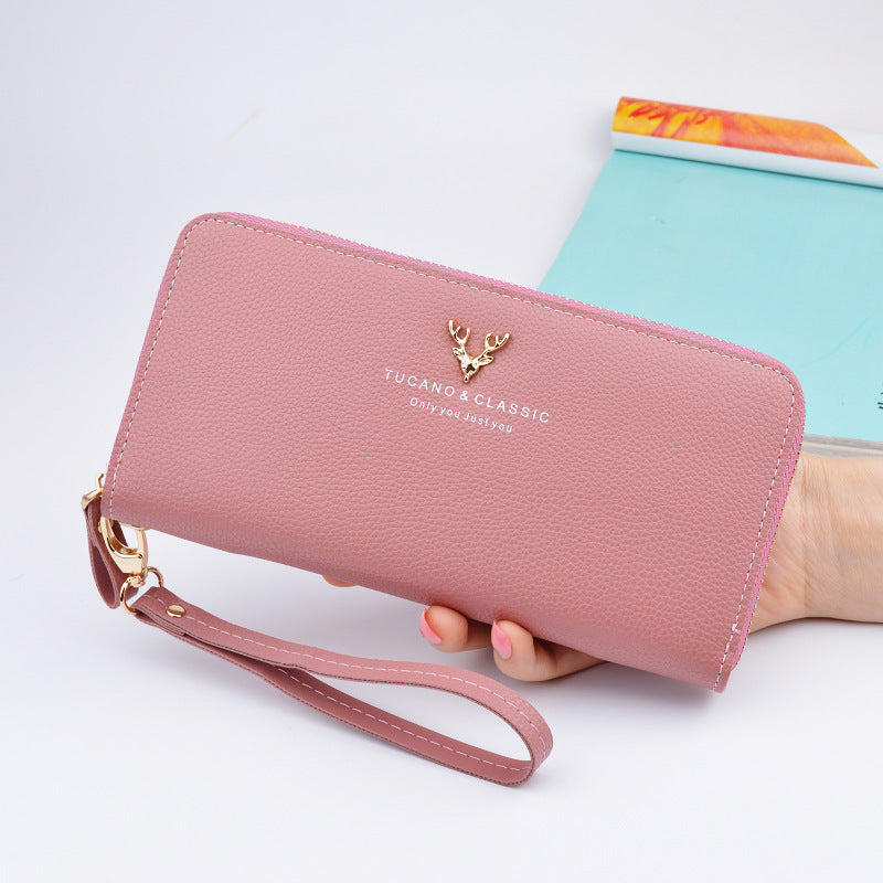 Costbuys  Women's Wallet Cell Phone Pocket Long Zipper Cell Phone Pocket Large Capacity Clutch Bag Fashion Student Wallet Lychee