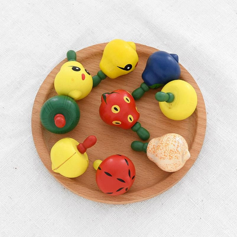 Costbuys  Wooden Color Fidget Hand Spinner Finger Toy Fruit Rotation Gyro Gyroscope Gifts Stress Relief Toy Funny Kids Gift