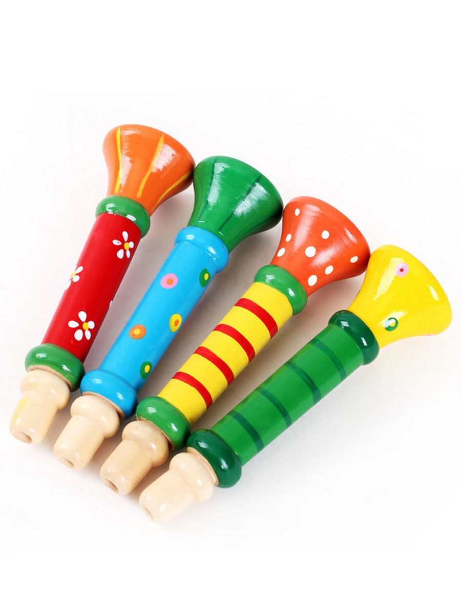 Costbuys  Wooden Vertical Whistle Musical Instrument Toys Small Speakers Trumpet Toy For Children Baby Kids - Multicolor