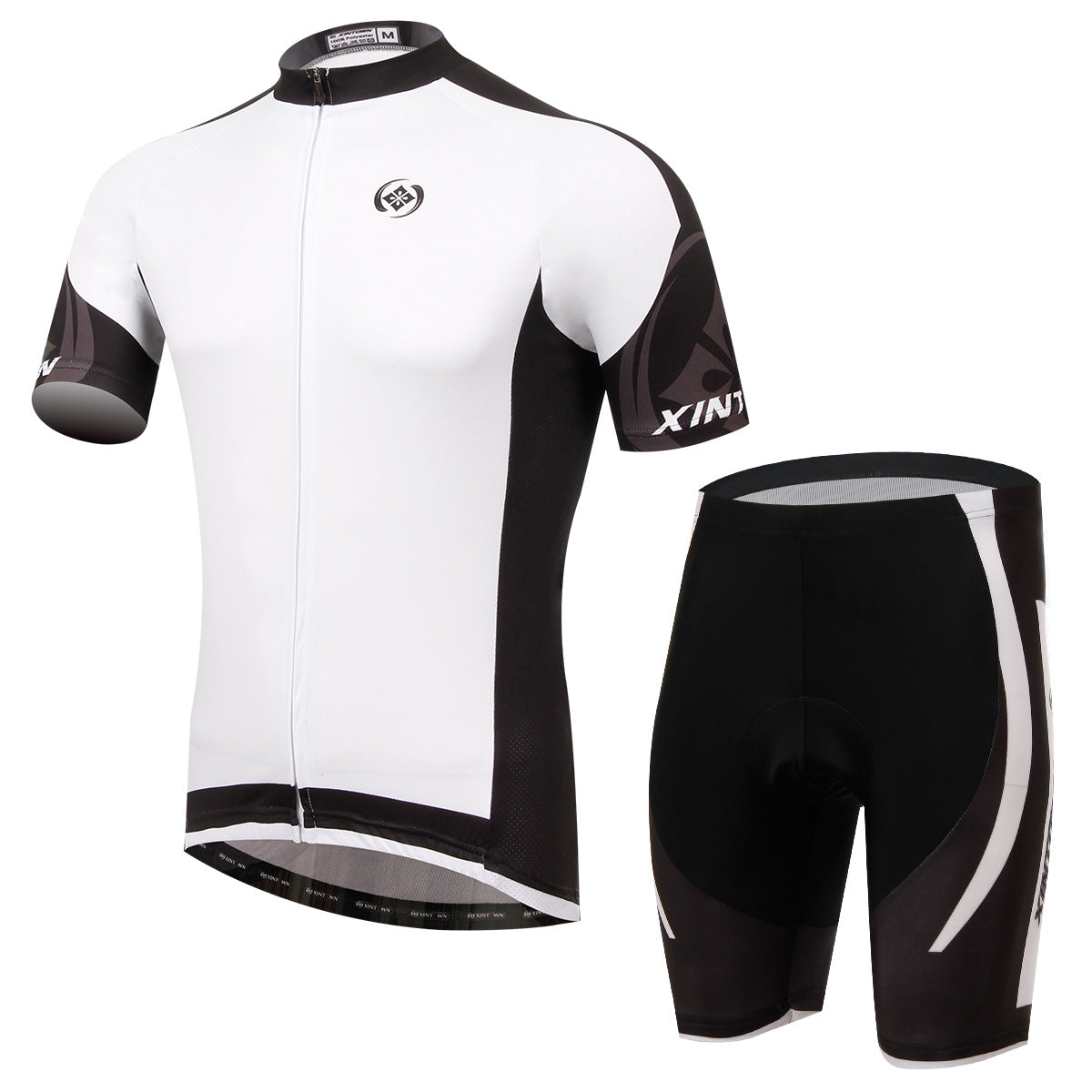 Costbuys  Dimon White Green bicycle bike riding jersey short-sleeved suit wear cycling suits sweat pants - White / 3XL