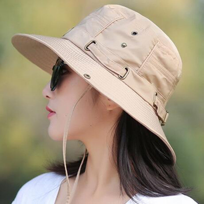 11af725a Foldable Adult Lady Summer Cotton Breathable Bucket Hats Wind Rope Fixed  Adjustable Sunscreen UV Protection Sun