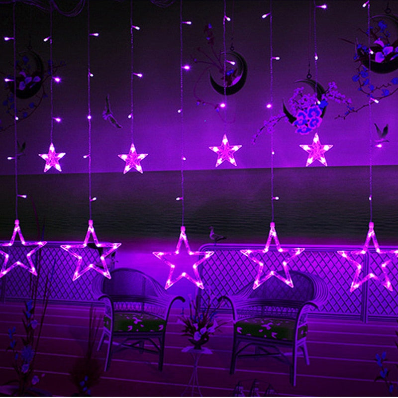 Fairy Star Curtain String Lights Girnaldas Luces Navidad Led Holiday Lighting Christmas Garden Outdoor Decorative Xmas Lamp