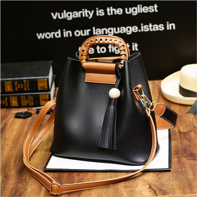 Costbuys  new vintage casual tassel composite bag hotsale ladies shopping handbags small shoulder messenger crossbody bags - Bla