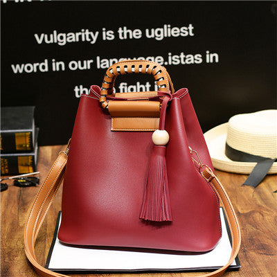 Costbuys  new vintage casual tassel composite bag hotsale ladies shopping handbags small shoulder messenger crossbody bags - Red