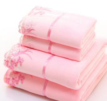 Costbuys  2pcs/set microfiber Embroidered towel set solid 1pc face towel and 1pc bath towel Quick Dry Towels bathroom for Adult