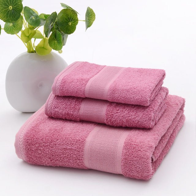 Costbuys  3pcs set  Antibacterial Pink Blue Bathroom Towel Sets Bamboo Beach Bath Towels for Adults Luxury Face Body Wash Cloth