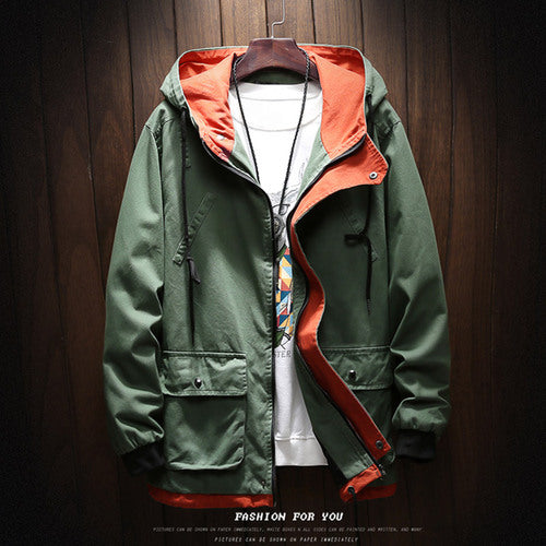 Costbuys  Hooded Jacket Men Spring Autumn Fashion Jacket Windbreaker Zipper Coats Male -clothing - Green / XL