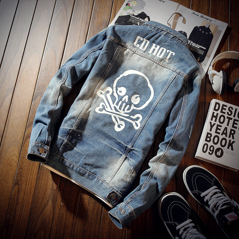 Skull Denim Jackets Men Spring Autumn High Quality Cotton Fashion Casual Hip Hop Jeans Jackets Coats