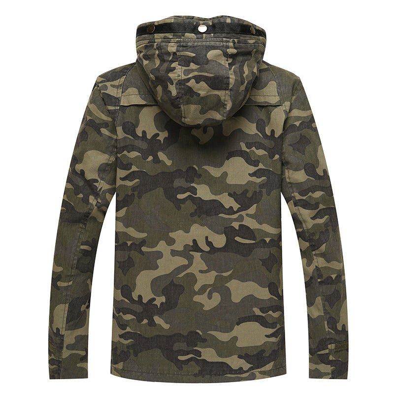 Spring Autumn Hooded Jacket Men Camouflage Flight Military Pilot Bomber Air Force One Men's Windbreaker Coat