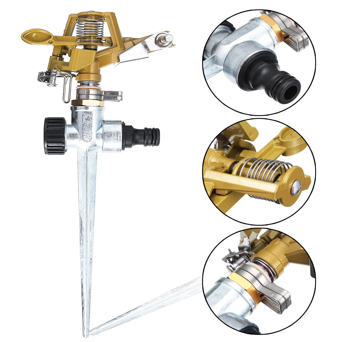Costbuys  Zinc Alloy 360 Degree Rotary Irrigation Sprayer Sprinkler For Home Garden Yard Lawn Watering Supplies Gardening Tools