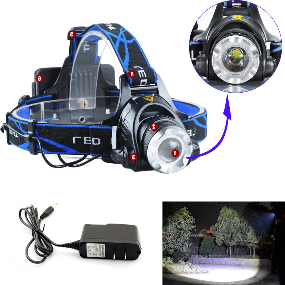 Costbuys  Zoomable 2000 LM CREE XM-L XML T6 LED Headlight Headlamp Flashlight Head Light Lamp +AC Charger