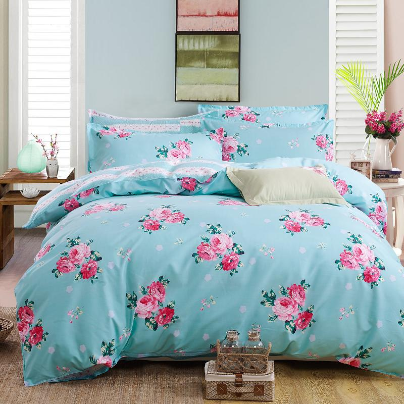 Costbuys  bedding set 5 size green bird bedding set duvet cover set Korean bed sheet +duvet cover +pillowcase pink bed cover bed