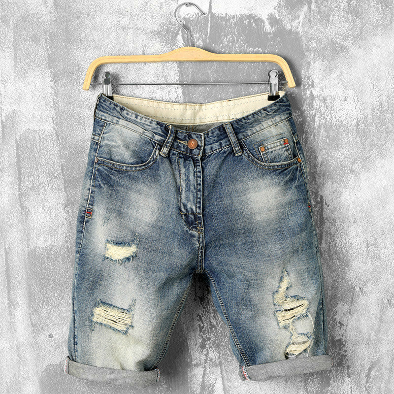 a4de5fb506d jean shorts bermuda skate fashion mens jogger ankle ripped summer deni –  Costbuys