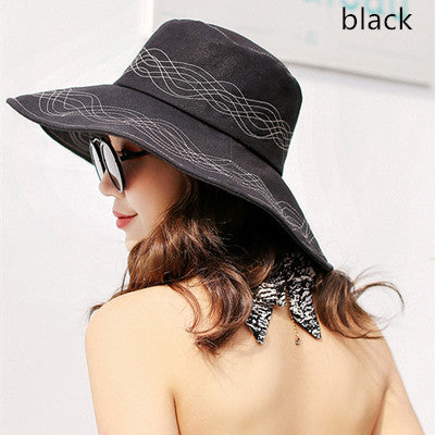 Costbuys  Cotton Bucket Summer Hats Wide Brim Bucket Hat Floral Fold-able Sun Hats For Women UV Protection Cap - Black / one siz