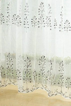 Costbuys  luxury Embroidered Curtains  on Promotion /Leaves Embroidered  for  Window Treatment Finished /Customized  Color Golde