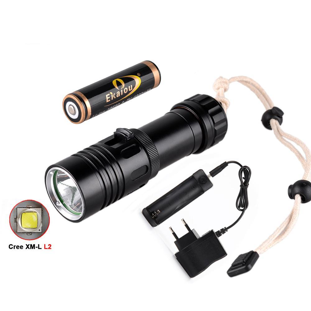 Costbuys  Waterproof 2000LM XM-L2 LED Diving Flashlight 18650 Torch Scuba Light 100M & 4000mah battery + charger