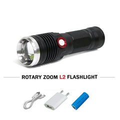Portable light usb led flashlight lanterna linterna CREE XM L2 waterproof zoom torch 18650 or 26650 charge battery zaklamp