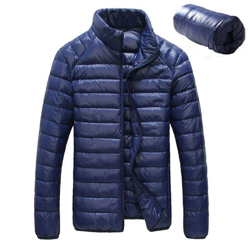 New Men Winter Jacket Ultra Light 90% White Duck Down Jackets Casual Portable Winter Coat for Men Plus Size Down Parkas