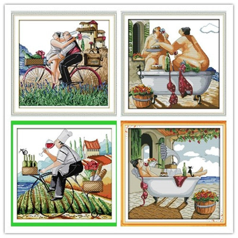 Enjoy life Embroidery floss Counted Cross Stitch In 11CT 14CT DIY Needlework DMC Cross Stitch Kits For Embroidery a CrossCrafts