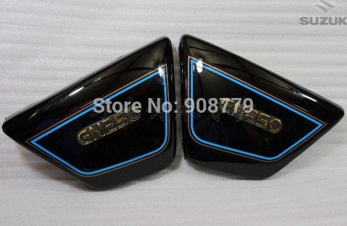 New Right & Left Frame Side Covers Panels for suzuki GN 250 GN250 Black color D-862