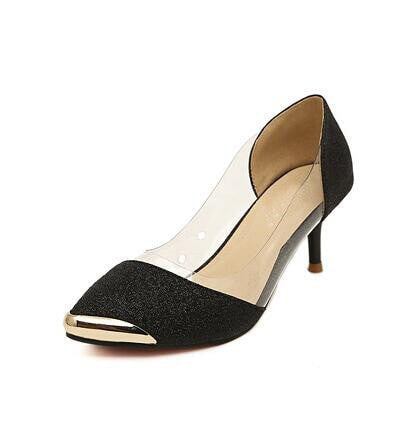Women Pumps Shoes High Quality Fashion PU Leather Thin High Heel Pumps Gold Sliver Shoes Woman Size Plus 35-40