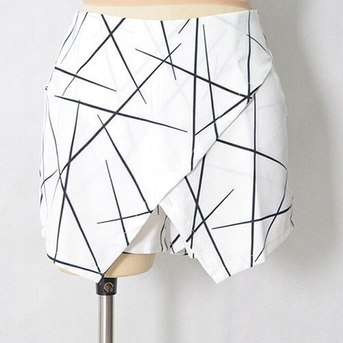 Womens White Sexy Wrap Origami Asymmetrical Angled Hem Geometric Print Shorts For Summer New Size S-XL