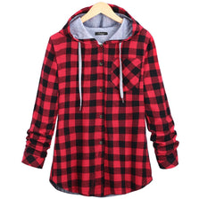 2016 Fashion Women Hoodies Cotton Autumn Winter Coat Long Sleeve Plaid cotton Hoodies Casual button hooded Sweatshirts Oversize