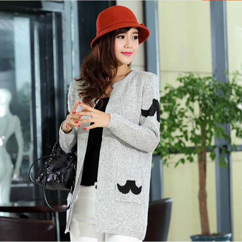 New Fashion Stars Pattern Cardigan Women Casual Sweet Sweaters Knitted Long Sleeve Slim Women Long Sweater Cardigans