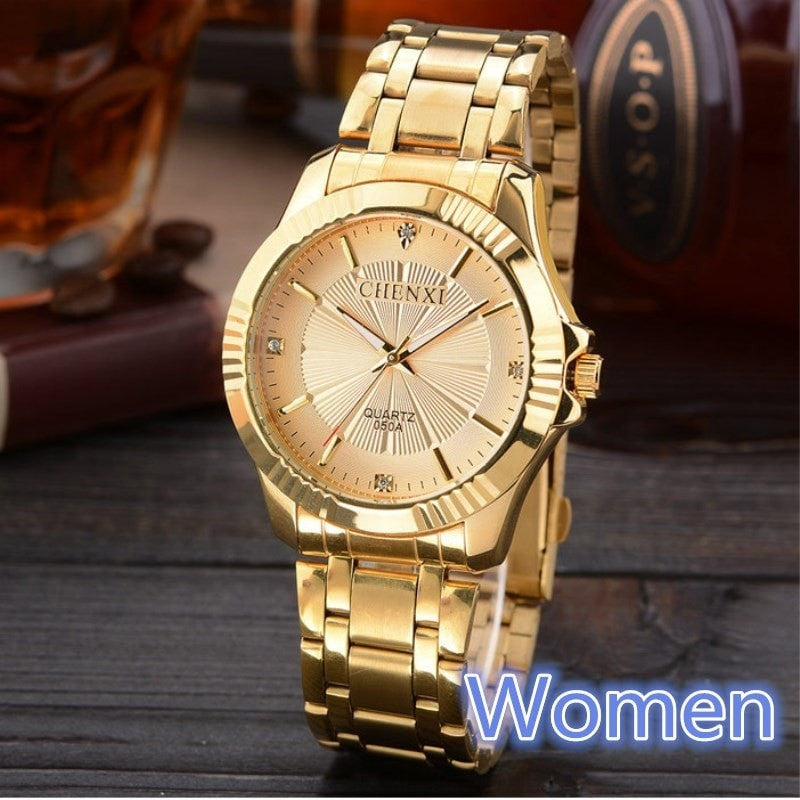 Costbuys  Golden Clock Gold Fashion Women Watch Full gold Stainless Steel Quartz Watches Wrist Watch Wholesale Gold Watch - Gold