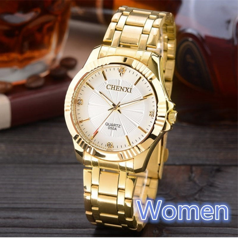 Costbuys  Golden Clock Gold Fashion Women Watch Full gold Stainless Steel Quartz Watches Wrist Watch Wholesale Gold Watch - Whit