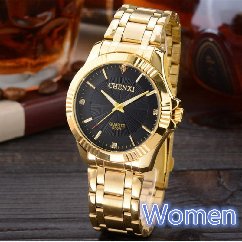 Costbuys  Golden Clock Gold Fashion Women Watch Full gold Stainless Steel Quartz Watches Wrist Watch Wholesale Gold Watch - Blac