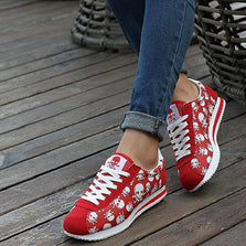 JACKSHIBO 2016 spring summer luxury brand women casual shoes,light originality skull heads print Cortez Hip hop woman flat shoes