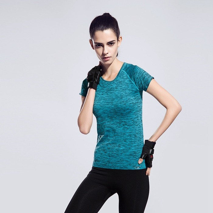 Costbuys  Workout Running Clothes For Women Quick Dry Yoga Shirt Sports Fitness Gym Clothing Ladies Sportswear Summer Short-slee