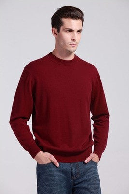 Man's Cashmere Sweaters Blend Winter Autumn O-Neck Long Sleeve Pullovers Soft Warm Knitwear Plus Size S-XXXL