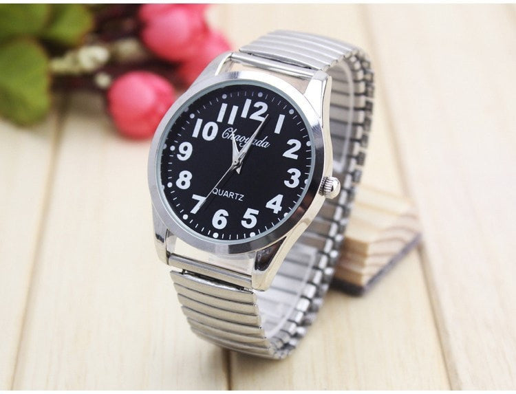 Costbuys  new Old men watches new famous Relojes Flexible elastic strap men stainless steel luxury fashion Analog wristwatch clo