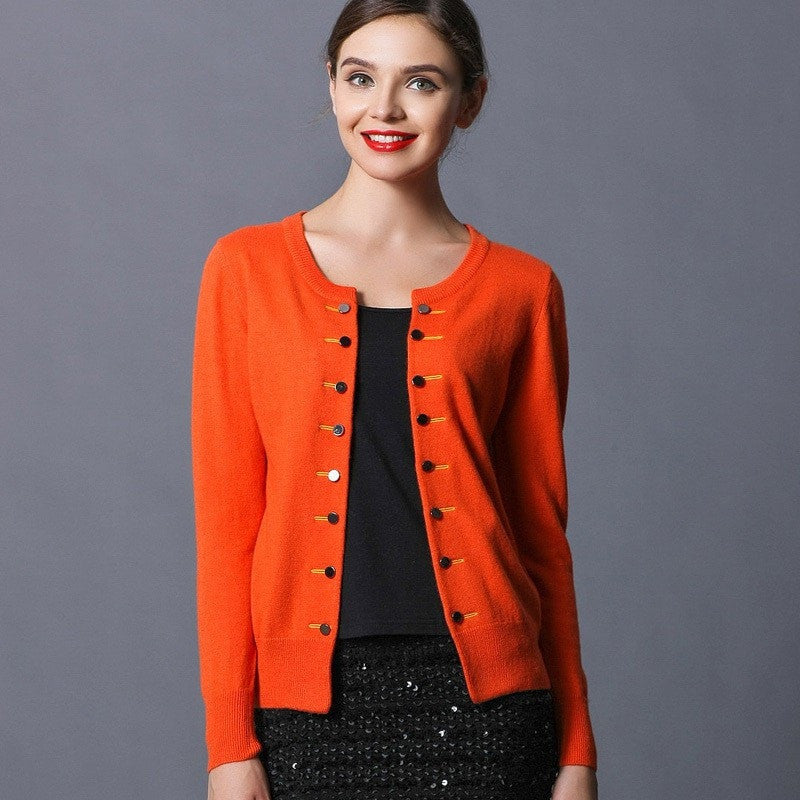 Cashmere Sweater Women Fashion Outwear Double Breasted Cardigans Knitted Cashmere Sweater Women Top Sale With 7 Colors