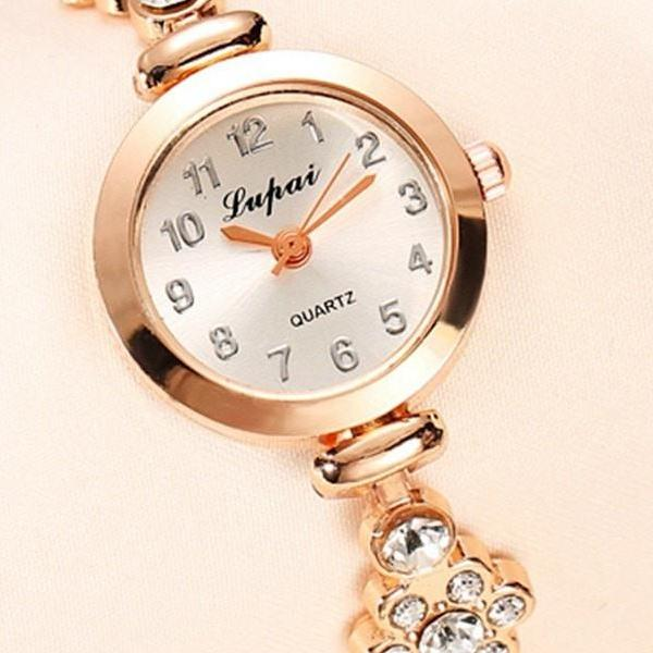 Costbuys  Fashion Watch Women Luxury Rose Gold Bracelets Wristwatch Crystal Quartz Business Women Dress Casual Watch - Gold