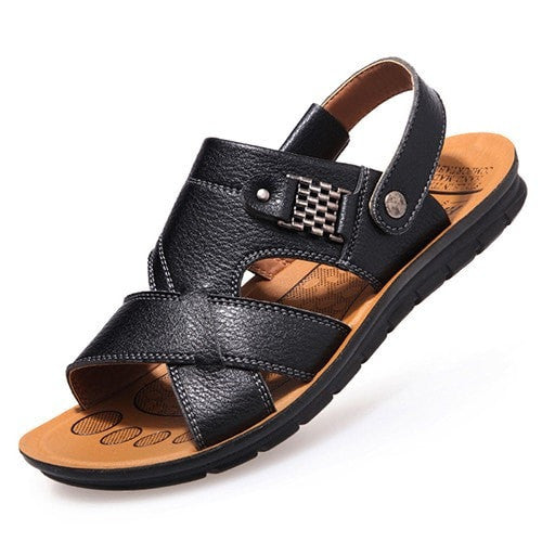 New Fashion Summer Male Sandals Men Genuine Cowhide Leather Shoes Open Toe Sandals Slippers Fashion Casual Beach Shoes