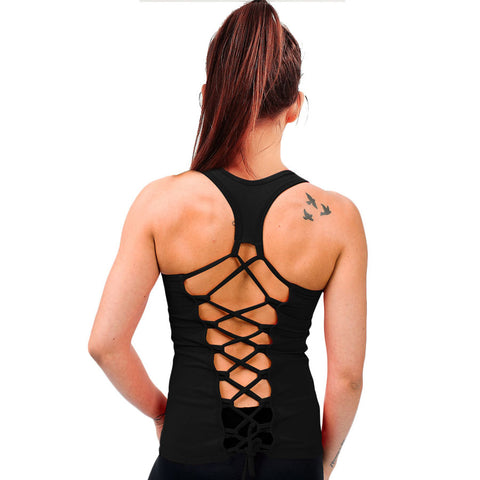 Summer Womens Tank tops T-Shirt Sexy Lace Vest Top Crochet Back Hollow-out Vest Camisole Black&White Sleeveless Shirt Blouse