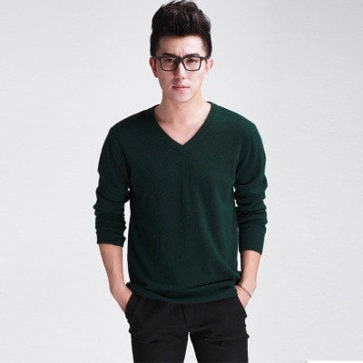 New spring and autumn Men's Fashion V Neck Cashmere Sweater Slim bottoming Knit Pullover Long sleeve Sweater 7 colors